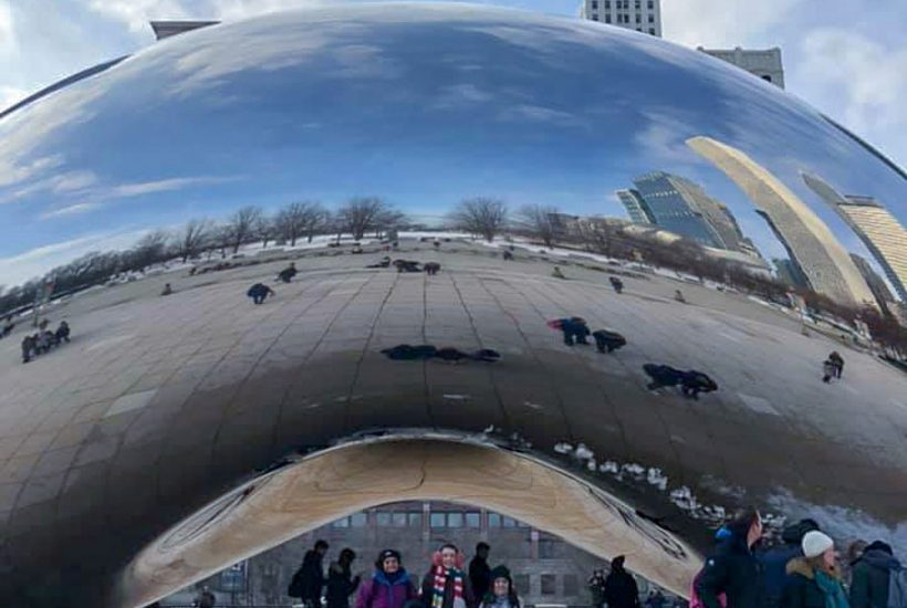 Homeschooling on the go in Chicago at the Chicago Bean